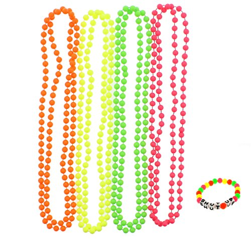 Zac's Set of 4 Fluorescent Neon Plastic Colour Bead Necklaces with Neon Bracelet