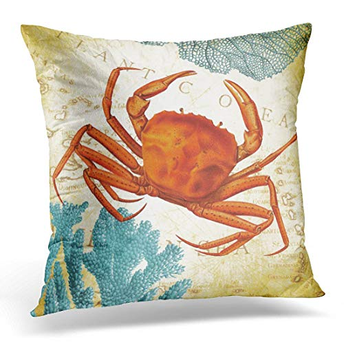 Throw Pillow Cover Map Caribbean Colorful Red Crab Coral Ocean Funda Almohada Decoración para el hogar Funda Almohada Cuadrada 18 '
