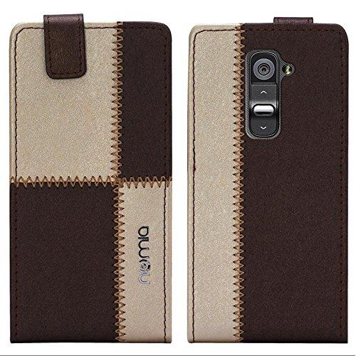 LG G2 Hülle, numia Handyhülle Handy Schutzhülle [Handytasche mit Standfunktion und Kartenfach] Pu Leder Tasche fürLG G2 (D802) Case Cover [Braun-Beige]