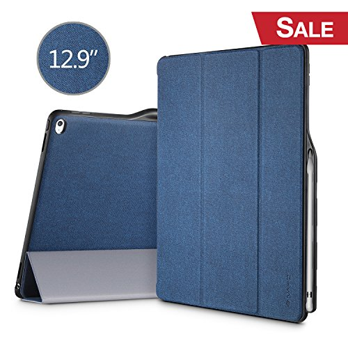 iPad Pro 12.9 Case, iVAPO iPad Pro 12.9 Cover Brief Business Style PU Slim Flip Folio Case with Stand Feature Auto Sleep Wake Function Smart Case for iPad pro 12.9 inch 2015 Blue