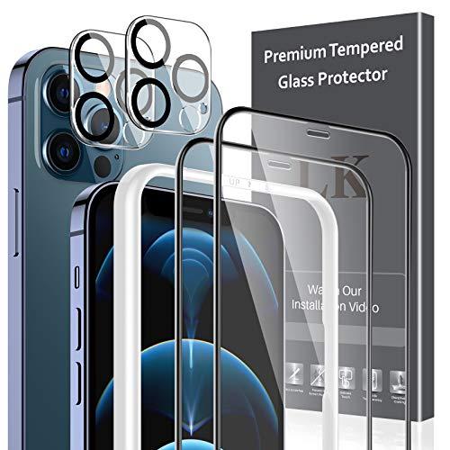 LK 4 Stücke Schutzfolie Kompatibel mit iPhone 12 Pro, 2 Schutzfolie und 2 Kamera Panzerglas, Volle...