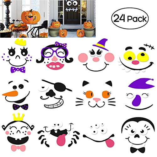 Unomor Foam Pumpkin Decorations Craft Kit for Halloween and Party, 24 Sets in 2 Packs