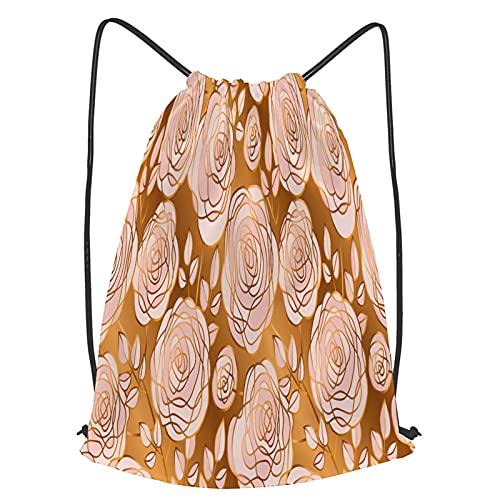 Impermeable Bolsa de Cuerdas Saco de Gimnasio lujo palepink oro abstracto rosa flores Deporte Mochila para Playa Viaje Natación
