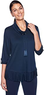 RUBY RD. Women's Cowl Neck French Terry Pullover with Fringe