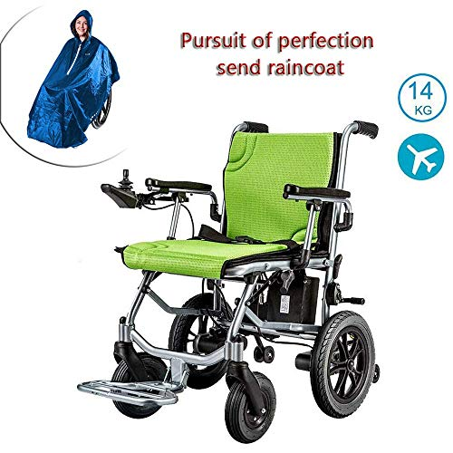Aluminum Electric Lightweight Wheelchair, Dual Function Can Be Opened In 1 Second, Foldable Mobile Footrest, Battery Life 12 Miles Electric Or Manual Bus Travel Chair 17.72 Inch Wide Seat (with Poncho