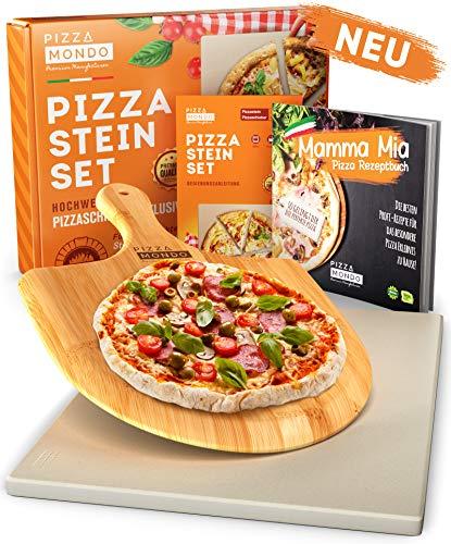 Pizza Mondo® Pizzastein für Backofen, Grill & Gasgrill (inkl. Pizzaheber & Rezeptbuch) Original Pizza Stein-ofen Erlebnis Dank Bester Qualität - Backstein Eckig 1,5 cm