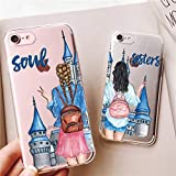 iPhone XR Case,Personality Couples Match BFF Soul Sisters Best Friends Castle Clear Soft Flexible Anti Scratch Drop Protective Case Cover for Apple iPhone XR