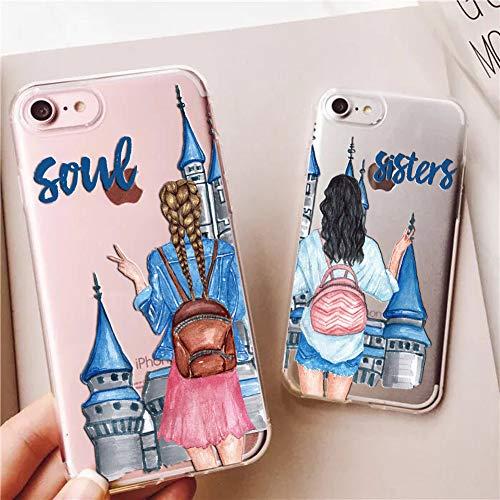 iPhone 6 Plus Case,iPhone 6S Plus Case,Unique Best Friends Castle Couples Match BFF Soul Sisters Clear Soft Anti Scratch Protective Case Cover for iPhone 6/6S Plus