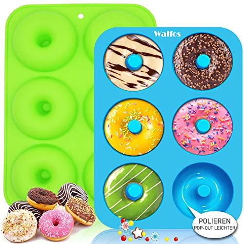 Walfos Silikon Donut Formen, silikon donut backform Antihaft Donut Backblech für Kuchen Keks Bagels Muffins, Geeignet für Geschirrspüler, Backofen, Mikrowelle (2 Stück 6 Cup Regular Donut Pan)