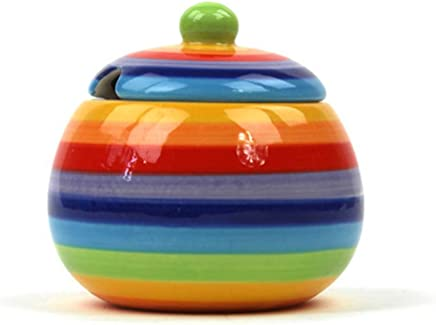 Preisvergleich für Sugar Pot | Rainbow Design sugar Bowl | ceramic Rainbow Sugar Pot by Hippy Shack