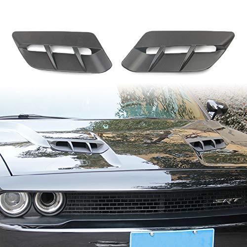 Korlot Black Matte Engine Hood Air Outlet Vent Moulding Cover Trim For Dodge Challenger 2015-2020 Sxt