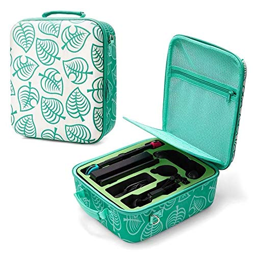 Nintendo Switch Deluxe Carrying Case-Turquoise Storage Bag with Handle and Shoulder Strap Fits Complete Switch System Console+Switch Dock+ Pro Controller +Joy-Con Grip+ Poke Ball Plus & Accessories