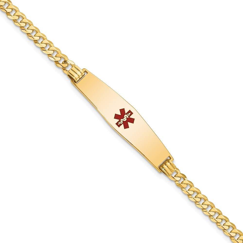 14K Medical safety Soft Diamond Shape Red online shop Flat Link Brac Curb ID Enamel