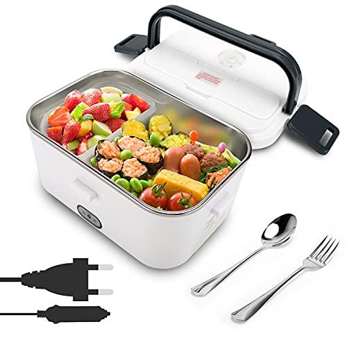 IVEOPPE Boîte à repas chauffante électrique - Chauffe-plat portable 24 V/220 V, 1,8 l - Récipient amovible en acier inoxydable avec cuillère et fourchette, pour voiture, école, bureau, 40 W (blanc)