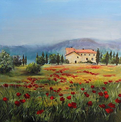 Bild Toskana Landschaft Meer Kunst Original Ölmalerei 30x30 cm