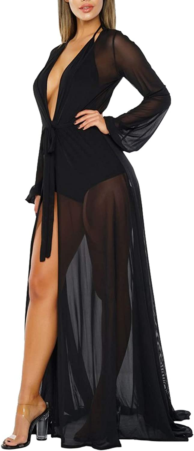 Pink Queen Women's Long Sleeve Flowy Maxi Bathing Suit Swimsuit Tie Front Robe Cover Up
