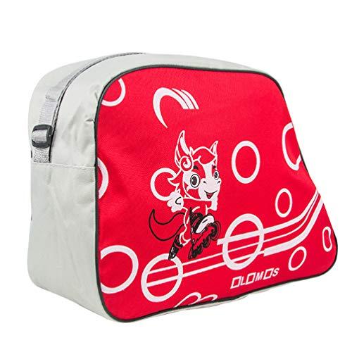 LIOOBO 1 stück Skate Tasche Verstellbarer Schultergurt Gedruckt Tragbare Rollschuh Eislaufen Inline Skate Schuhe Aufbewahrungstasche Organizer Rot