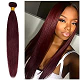 20inch Silky Straight Remy Human Hair Weave Wine Red #99J 1 Bundle/100g 6A Unprocessed Virgin Brazilian Long Hair Weft Extensions for Afro American Women Party