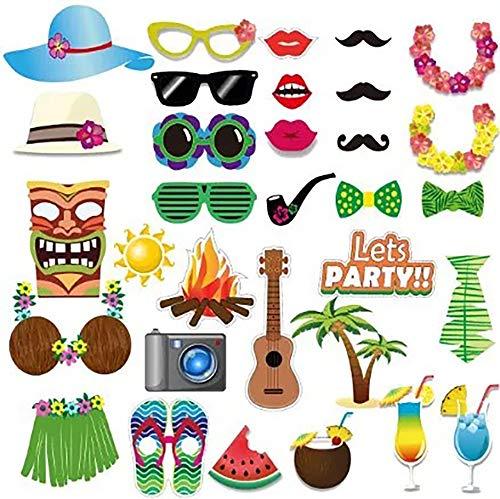 thematys Lets Party Sommer Fotobox 32-teilig - Photo Booth Foto-Requisiten & Foto-Accessoires - für witzige & unvergessliche Bilder - Party Sommerfestivals Geburtstage Hochzeit