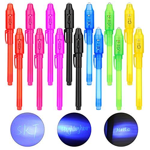 LISOPO 14 Stück Geheimstifter Stift Fuer mit UV-Licht UV- Geheimstifte Geheime Nachrichten UV Stift unsichtbar schreiben,lesbar durch Licht,Gastgeschenke Kindergeburtstag Mitgebsel