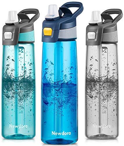 Newdora Trinkflasche 750ml Wasserflasche Mit Trinkhalm BPA Frei Aufklappbarer Deckel mit Tragegriff Auslaufsicher Sportflasche für Outdoor, Yoga, Schule,Büro,(Marine)