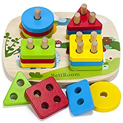 BettRoom Toddler Toys for 1 2 3 4-5 Year Old Boys Girls Wooden Educational Preschool Shape Color Recognition Geometric Board Blocks Stacking Sort Kids Children Baby Non-Toxic
