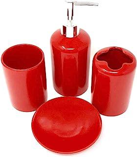 Amazon Com 4 Pieces Red Bathroom Accessory Sets Bathroom Accessories Home Kitchen