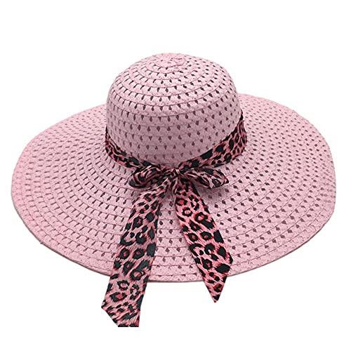 XCSM Sombrero de Paja de ala Ancha para Mujer Floppy Plegable Roll up Bowknot Beach Sun Hat Summer...