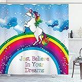 ABAKUHAUS Kids Duschvorhang, Einhorn Regenbogen-Fantasie, Waserdichter Stoff mit 12 Haken Set Dekorativer Farbfest Bakterie Resistet, 175 x 240 cm, Multicolor