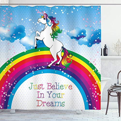 ABAKUHAUS Kids Duschvorhang, Einhorn Regenbogen-Fantasie, Waserdichter Stoff mit 12 Haken Set Dekorativer Farbfest Bakterie Resistet, 175 x 180 cm, Multicolor