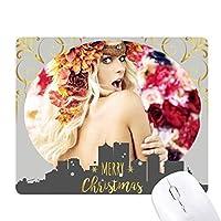 裸の熱心な女性の装飾花 クリスマスイブのゴムマウスパッド