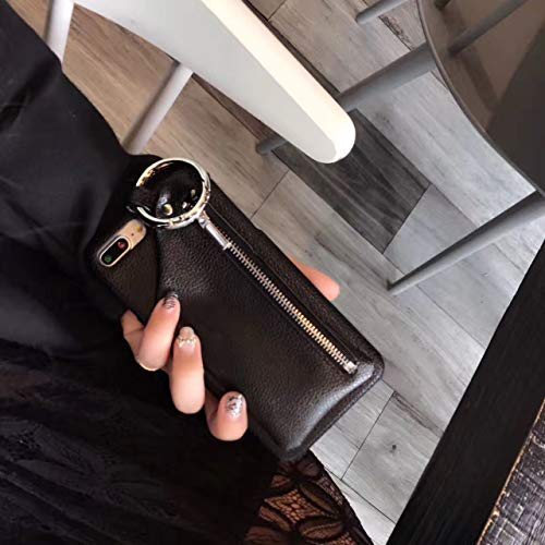 翌日発送 送料無料 Minky 大人気 スマホケース iphoneケース リング付き 携帯入れポーチ 男女通用 超クール 完全保護 高級手作り 小銭入れ 高級倣皮革 個性的 携帯カバー (ブラック, iPhoneXR)