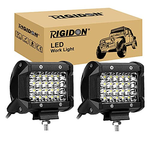 RIGIDON 2 Pcs Faros trabajo led, 9D 4 pulgadas 60W, fila cuád ruple Spot lámpara trabajo led para off road camión coche ATV SUV 4x4 Tractor, 6000K Blanco , foco led 12v 24v Spotlights faros an