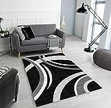 Classic Home Habana - Alfombra de diseño moderno, suave y gruesa, 200 x 290 cm, color negro
