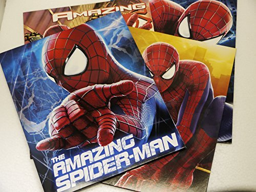 Set of 4 - The Amazing Spider-Man 2 - Portfolio Folders School Supplies - 3 Hole Punched 2 Pocket Folder Model: Office Supply Store