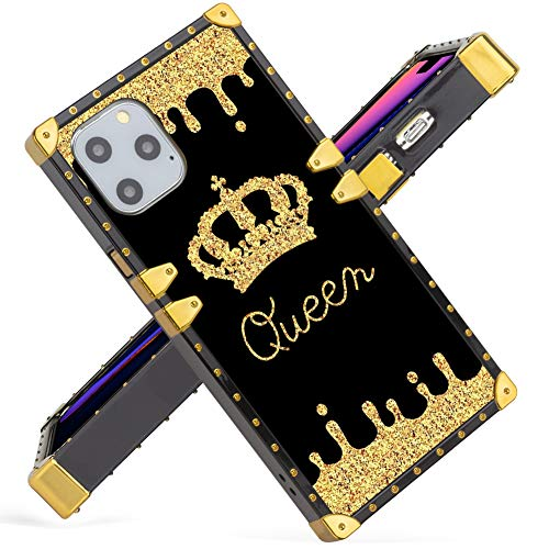 for iPhone 11 Pro 5.8 Inch Case 2019 Release Gold Queen Square Soft TPU Wrapped Edges and Hard PC Back Stylish Classic Retro Cover