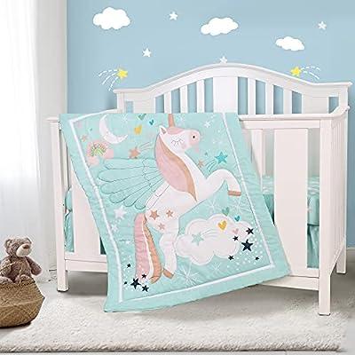 Honkaii Unicorn 3-Piece Crib Bedding Set, Baby Nursery Bedding Crib Set Including Crib Quilt, Crib Skirt, Crib Sheet, Blue Crib Sets for Boys