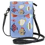 Juego de monedero para teléfono celular, diseño de peces dibujados a mano, bolso pequeño para teléfono celular, cartera para mujer