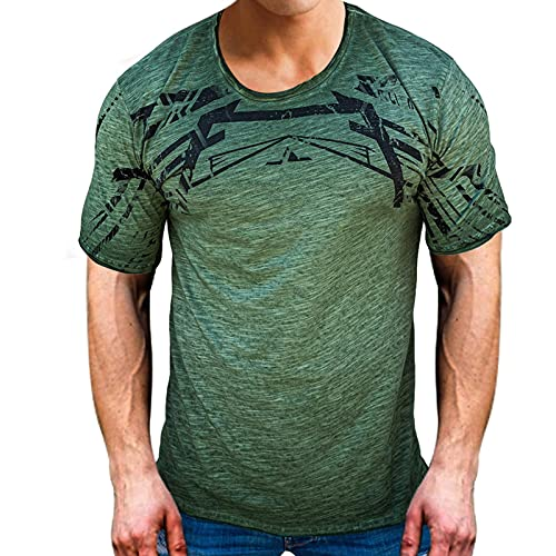 Nrkin Camiseta de impresión Verano Impreso Crew Cuello Camiseta Camiseta Top Transpirable para Hombres