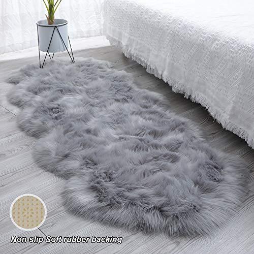 SXYHKJ [Non-Slip] Alfombra de imitación de Piel de Imitación,excelente Piel sintética de Calidad Alfombra de Lana,Adecuado para salón Dormitorio baño sofá Silla cojín (Gris, 60x160cm)