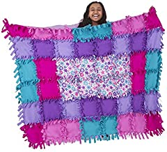 Melissa & Doug Created by Me Flower Fleece Quilt - The Original (No-Sew Fleece Quilt, Soft Material, 48 Pieces, 5′W × 4′L, Great Gift for Girls & Boys - Best for 6, 7, 8 Year Olds & Up)