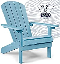 YEFU Adirondack Chair Plastic Weather Resistant, Patio Chairs 5 Steps Easy Installation, Looks Exactly Like Real Wood, Widely Used in Outdoor, Fire Pit, Deck, Outside, Garden, Campfire Chairs (Blue)