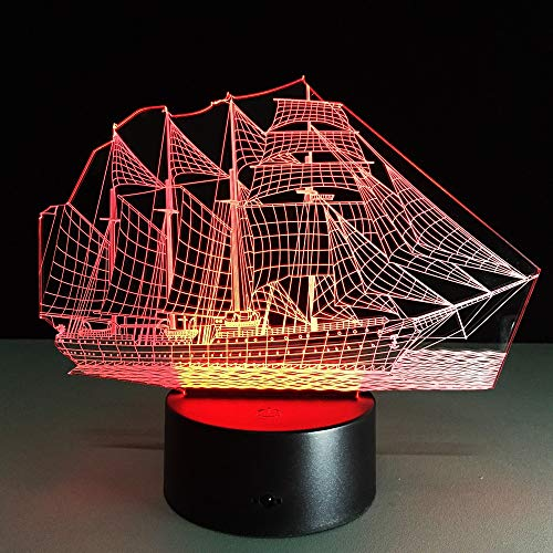 Sailing Boat Acrylic 3D Lamp 7 Color Change Desk Lamp Remote Ouch Switch Bedroom Lamparas De Mesa Table Lamps