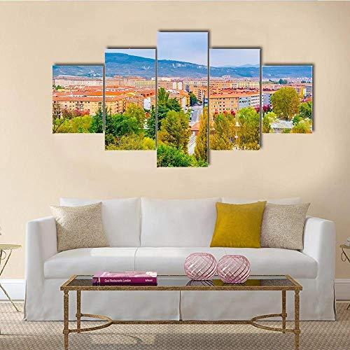 QQQAA Cuadros Modernos Impresión de Imagen Artística Digitalizada Lienzo Decorativo para Tu Salón o Dormitorio Vista aerea de Pamplona XXL 5 Piezas (150x80cm)