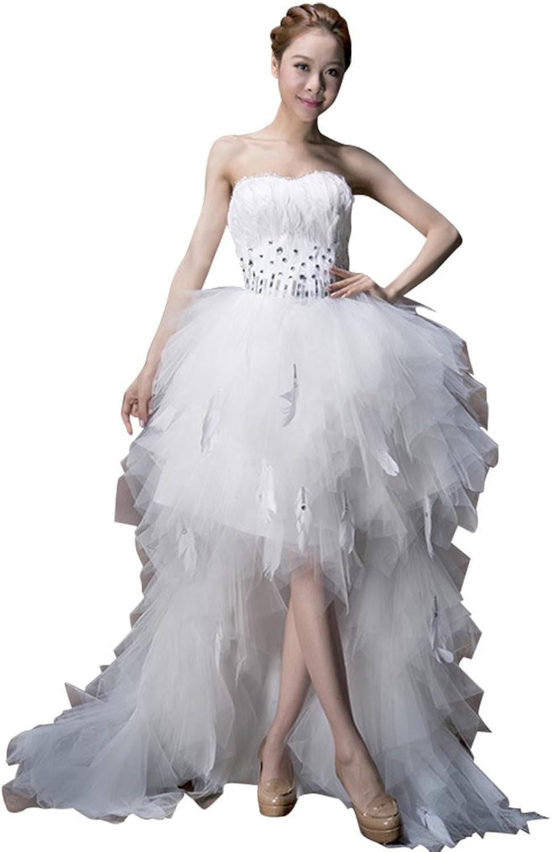 Drasawee Strapless Ruffled Front Short Long Back Bride Wedding Dress