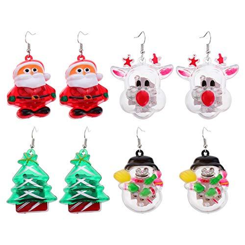 PRETYZOOM 4 Pairs LED Christmas Drop Earring Luminous Santa Tree Elk Snowman Pendant Earring Hook Earrings Christmas Party Jewelry Gift for Lady Women Girl Female(Mixed)