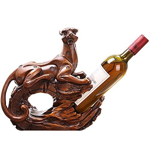 Yadlan Creativo Retro Sostenedor del Vino de Estante del Vino Leopardo Figura Decoracion Escultura Práctico del Hogar Interior Manualidades, Resina