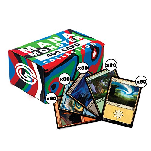 Cosmic Games MTG Mana Monster Basic Land Pack | 400 Magic The Gathering Basic Land Cards | Includes 80 of Each Type: Island, Swamp, Forest, Mountain & Plains | Comes with MTG Card Storage Box