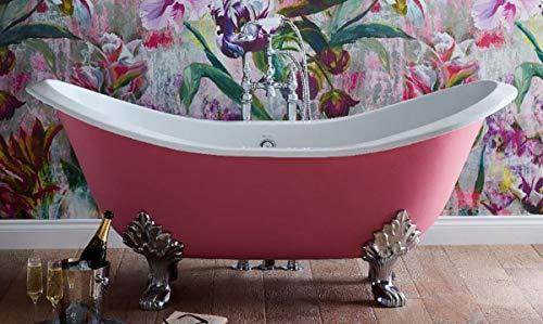 Casa Padrino bañera Art Nouveau de Lujo Rosa/Blanco/Plata 180 x 77 x A. 79 cm - Bañera Curva Independiente de Hierro Fundido - Mueble de Baño Barroco y Art Nouveau
