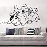 miseda Wall Art Stickers Quotes and Sayings Stitch Decal Stitch Sticker Large Ohana Lilo and Stitch Kids Room Cartoon Anime Stitch Playroom Decor